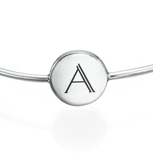 Initial Bangle Bracelet - Sterling Silver - Adjustable - 1