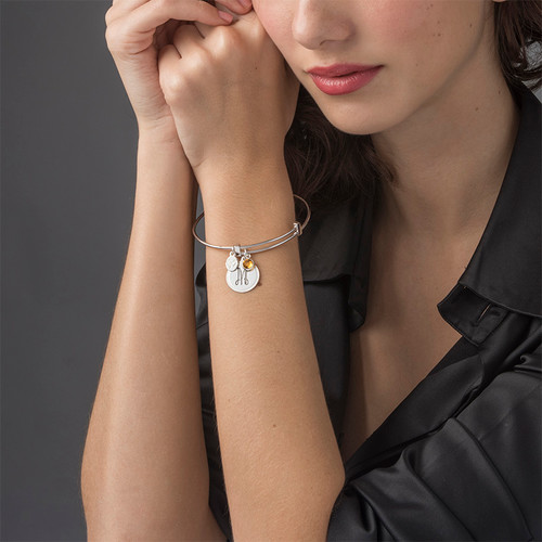 Initial Bangle with Charms - 2