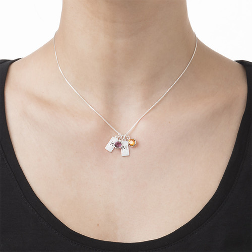 Initial Bar Necklace with Birthstones - 1
