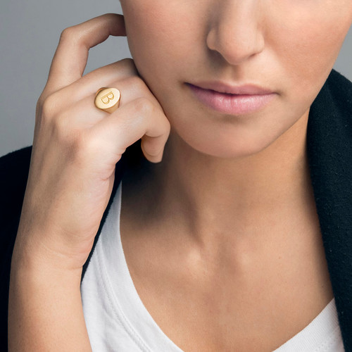 Initial Signet Ring - 18k Gold Plated - 2
