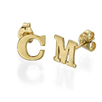 Initial Stud Earrings in 14k Solid Gold - Print