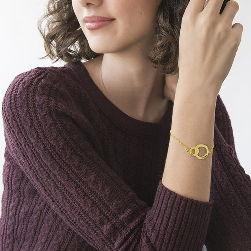 Interlocking Circles Bracelet - Gold Plated - 2