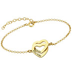 Interlocking Hearts Bracelet with 18K Gold Plating