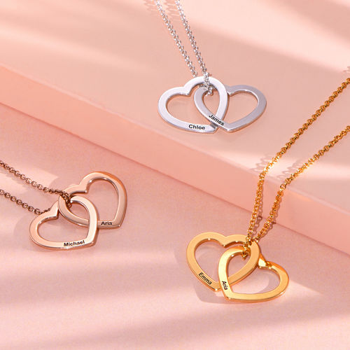 Interlocking Hearts Necklace  with 18K Gold Plating - 1