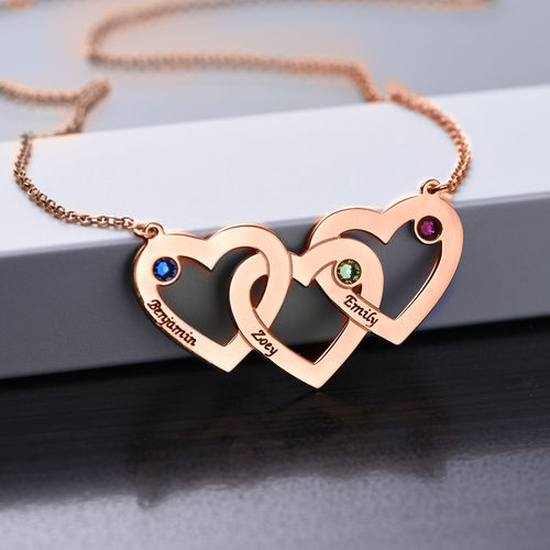 Intertwined Hearts Necklace with Birthstones - Rose Gold Plated - 1