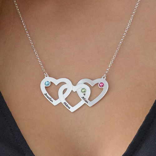 Intertwined Hearts Necklace with Birthstones - 3