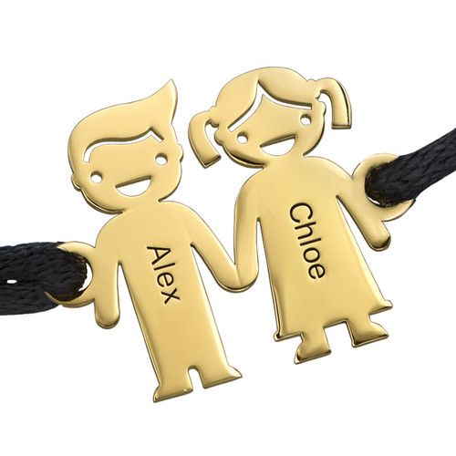 Kids Holding Hands Charms Bracelet - Gold Plated - 1