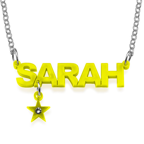 L.A. Style Color Name Necklace with your choice of charm - 2