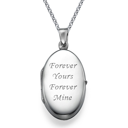 Large Engraved Locket in Sterling Silver