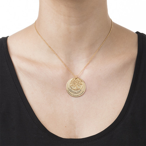 Layered Family Tree Necklace with Gold Plating - 1