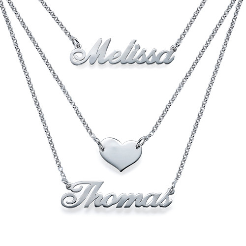 Layered Name Necklace in Sterling Silver - 1
