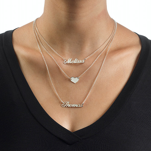 Layered Name Necklace in Sterling Silver - 3