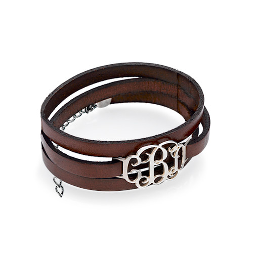 Leather Wrap Bracelet - Monogram - 1