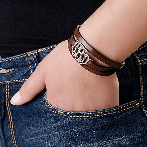 Leather Wrap Bracelet - Monogram - 2