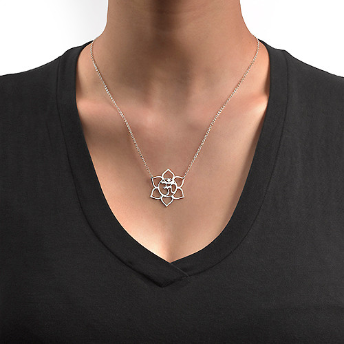 Lotus Flower Necklace with Om Symbol - 1