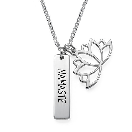 Lotus Flower Necklace With Personalized Bar In Silver My Name
