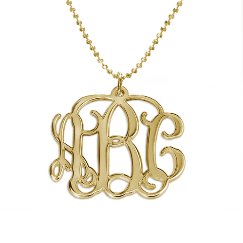 Mix and Match Gold Plated Monogram Necklace and Bracelet Set - 1