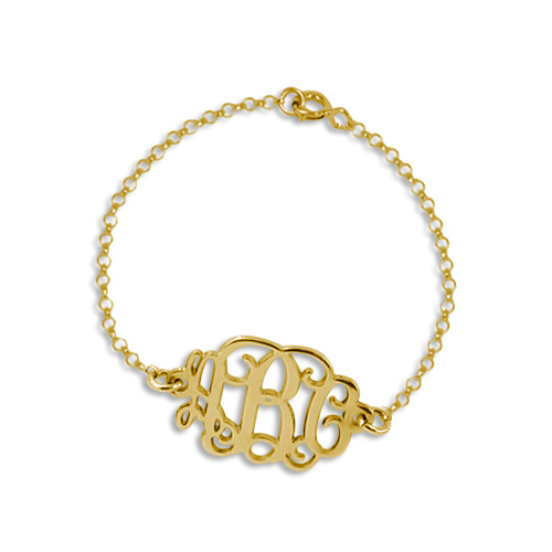Mix and Match Gold Plated Monogram Necklace and Bracelet Set - 2
