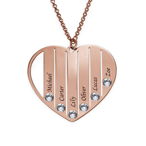 Mom Birthstone necklace in Rose Gold Plating - 2