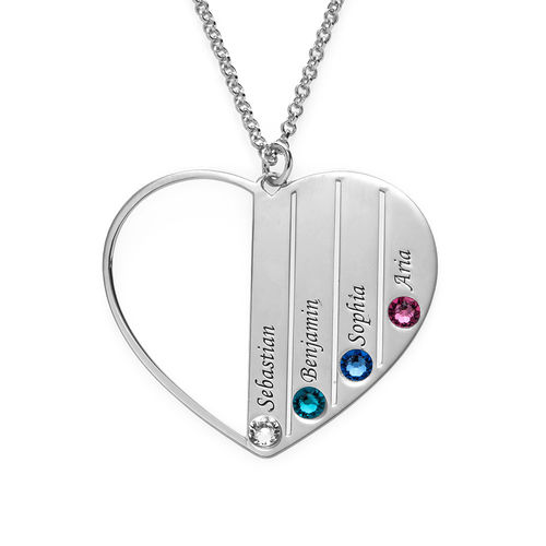 Mom Birthstone necklace in Silver Sterling