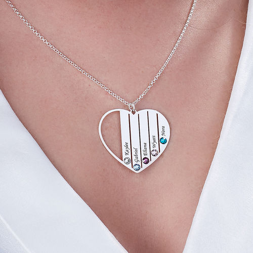 Mom Birthstone necklace in Silver Sterling - 2