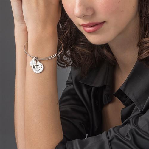 Mom Charm Bangle Bracelet - 2