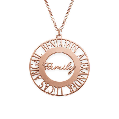 Mom Circle Necklace in Rose Gold Plating