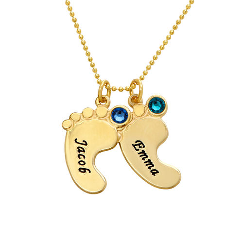 Mom Jewelry - Baby Feet Necklace In 10K Yellow Gold - 2