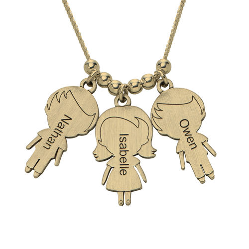 Mom Necklace with Children Charms in Gold Plating