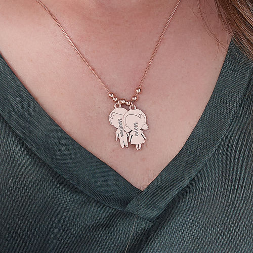 Mom Necklace with Children Charms in Rose Gold Plating - 3