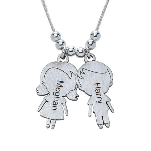 Mom Necklace with Children Charms in Sterling Silver Sterling
