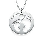 Mom Necklace with Cut Out Baby Feet