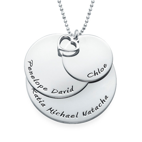 Mom Necklace with Three Personalized Discs - 1