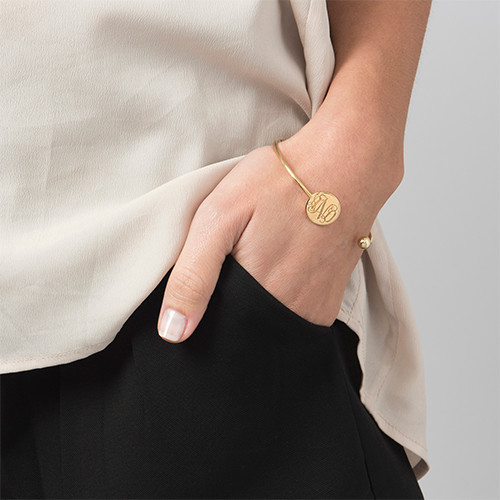 Monogram Bangle Bracelet in Gold Plating - Adjustable - 2