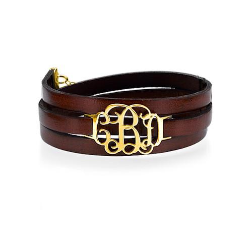 Monogram Leather Bracelet - 18k Gold Plated
