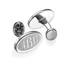 Monogrammed Cufflinks in Rhodium Plating
