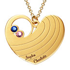 Mother Heart Necklace with Birthstones in Gold Plating