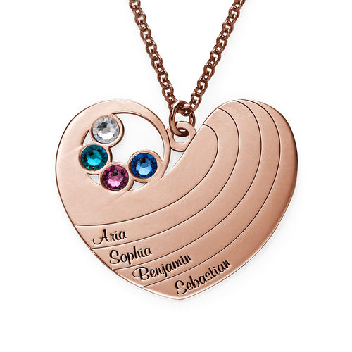 Mother Heart Necklace with Birthstones in Rose Gold Plating