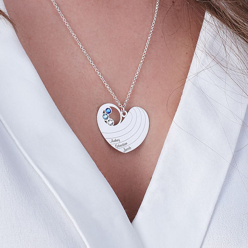 Mother Heart Necklace with Birthstones in Silver Sterling - 2