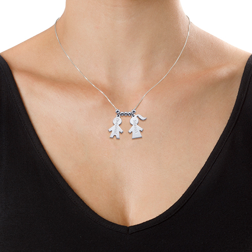 Mothers Jewelry - Necklace with Kids Charms - 1