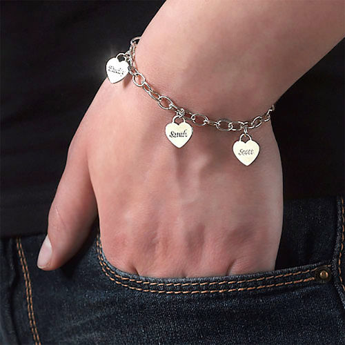 Mother's Personalized Heart Charm Bracelet - 1