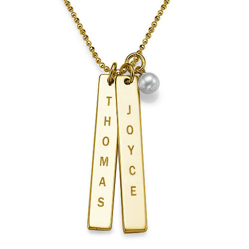 Name Tag Necklace - Gold Plated
