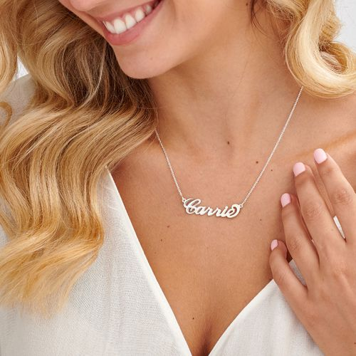 "Sterling Silver ""Carrie"" Style Name Necklace - 1"