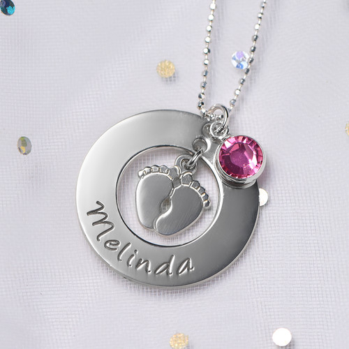 New Mom Necklace with Baby Feet - 4
