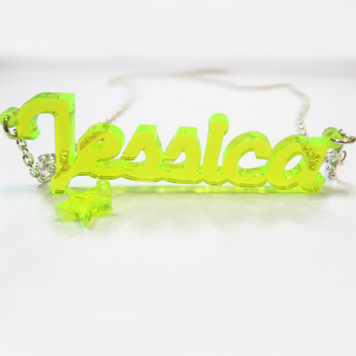New York Style Color Name Necklace with your choice of charm - 1