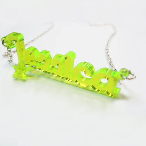 New York Style Color Name Necklace with your choice of charm - 2