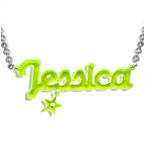 New York Style Color Name Necklace with your choice of charm