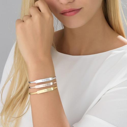 Open Name Bangle Bracelet in Silver - 2