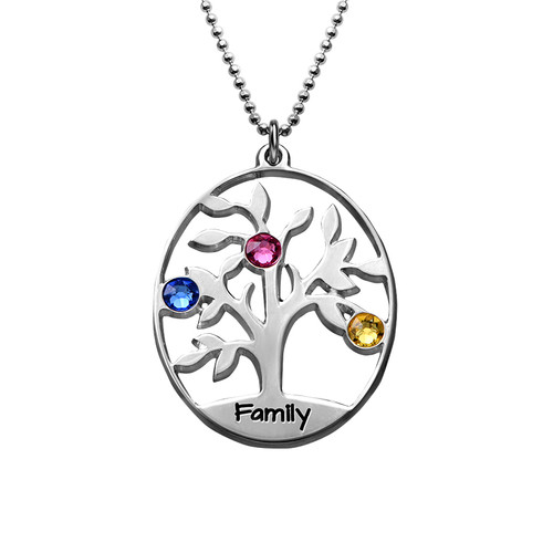 Oval Family Tree Necklace with Birthstones - 1