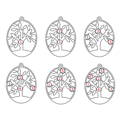 Oval Family Tree Necklace with Birthstones - 4